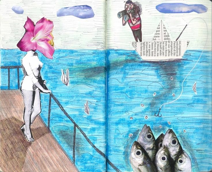 "Tiziana Solito - Moleskine - MyMoleskine. ""Incanto"". Collage, ecoline & markers."