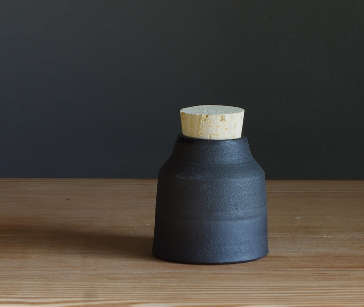 one small black stoneware bottle by vitrifiedstudio - made to order