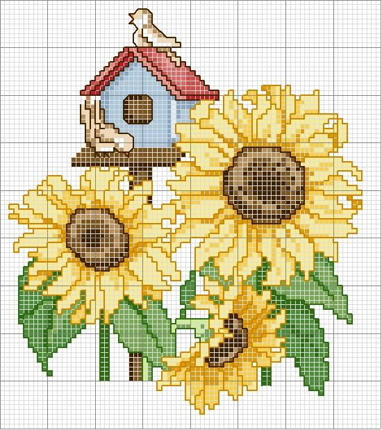 Christmas 2013:  Sunflowers - Original Pattern - I stitched these sunflowers and birdhouse on a cream huck tea towel for a family gift exchange, Christmas 2013.  The chart was a freebie from Ellen Maurer-Stroh (1999).  Also given was the Little Squares Table Runner from Connecting Threads, and made from their Sun Kissed Harvest fabrics.