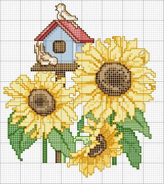 Sunflowers and birdhouse