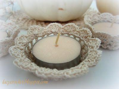 Crochet Tealight Candle Holder Tutorial  ༺✿Teresa Restegui http://www.pinterest.com/teretegui/✿༻