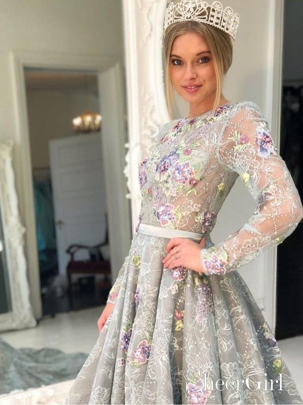 152faf00eaa Long Sleeve Grey Lace Graduation Dresses for Junior Beaded Long Evening  Prom Dress APD3433-SheerGirl