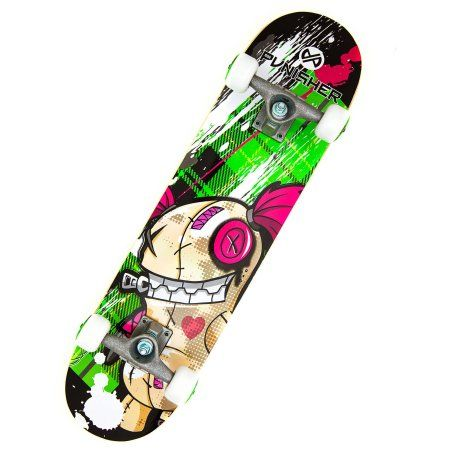 Punisher Skateboards Jinx 31.5 inch Abec-7 Complete Skateboard, Multicolor