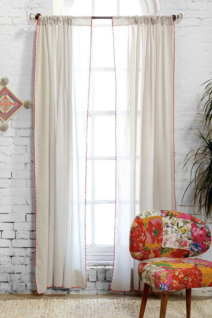 Grayson silver gray jacquard fabric cloth bathroom bath shower curtain - Plum Bow Contrast Scallop Curtain