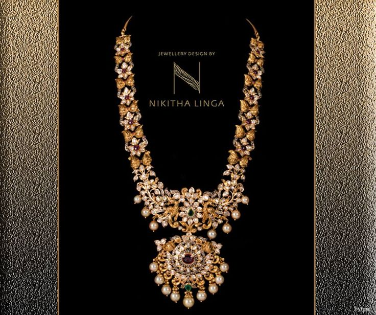 How beautiful this traditional yet contemporary gold Haram! NikithaLinga  Gold  Haram  Traditional  Jewellery