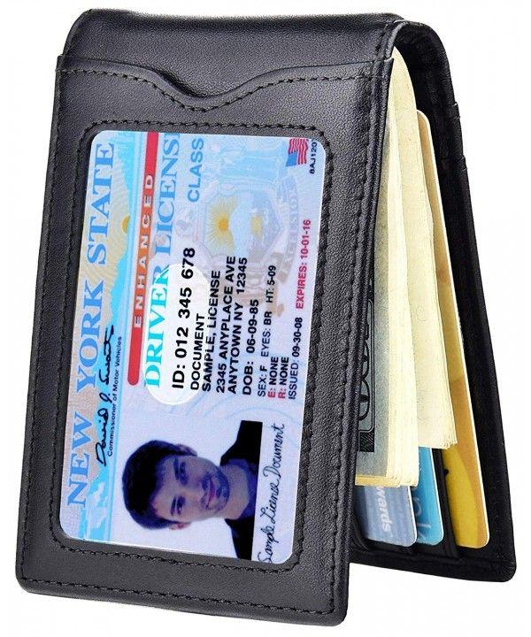 Men Minimalist Leather Bifold Wallet Money Clip Holder ID Card Slim Purse RFID