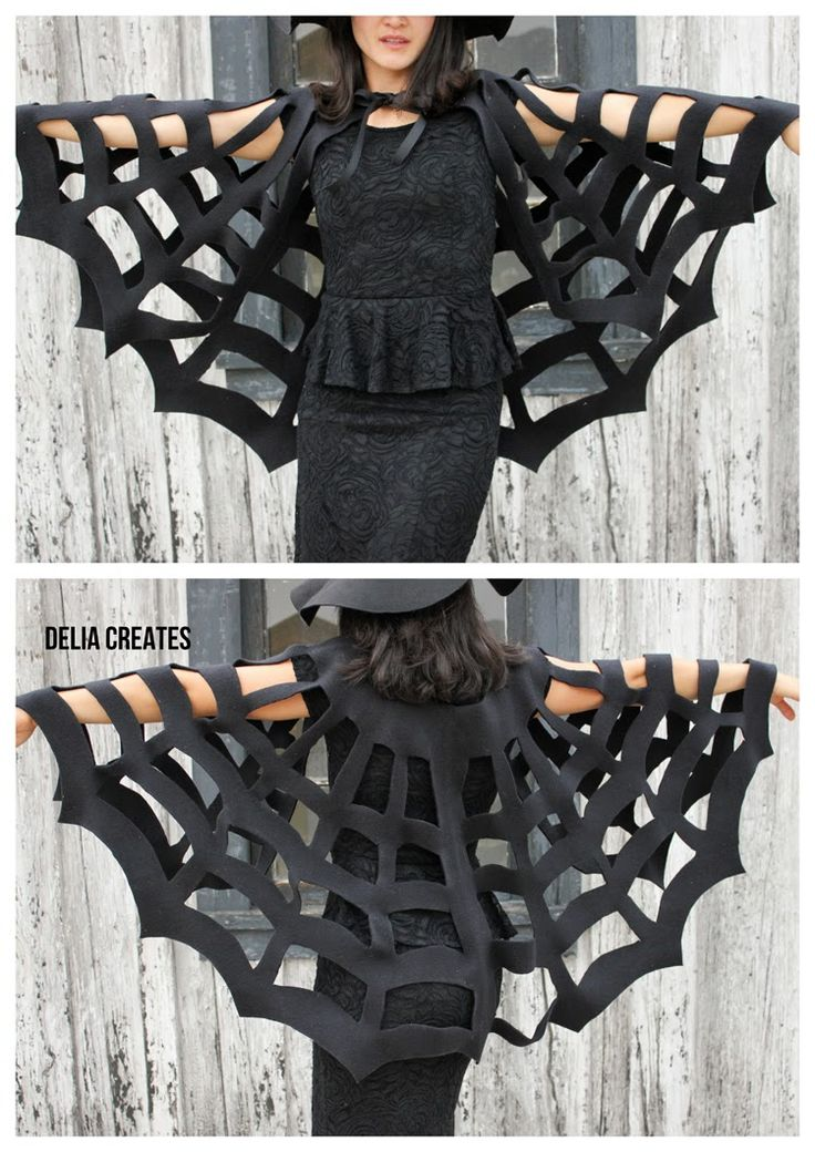 With October just around the corner, I'm sharing a Halloween costume tutorial today for It's really easy and completely no-sew! It's versatile too. I've made it into a witch accessory, but you could totally just be a spider web for Halloween and put a huge plastic spider on your back. All you need is: fleece fabric – about 1 yard for a small child, 1 1/2-2 yards for an adult
