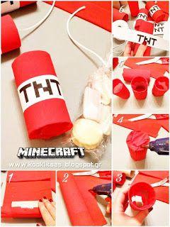 """Φτιάξε εύκολα και οικονομικά δωράκια από """"γλυκούς δυναμίτες TNT"""" για το MINECRAFT πάρτι σου ... εκτύπωσε δωρεάν το λογότυπο TNT για να το κολλήσεις !!!"""