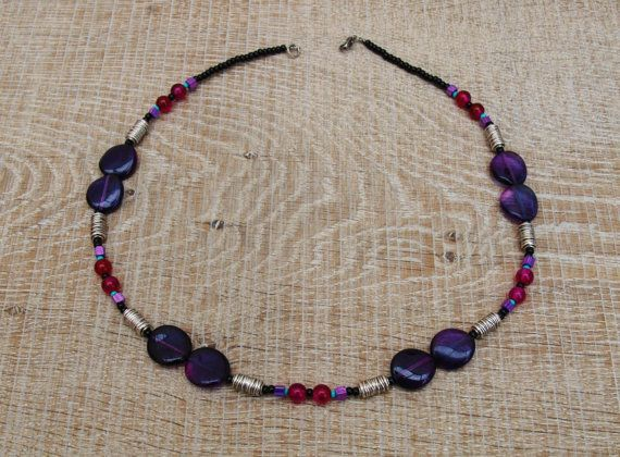 handcrafted Magenta agate and violet glass necklace  by BijoubeadsLondon £23.00