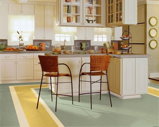 #diseño de #cocina con #suelo vinilico de #linóleo