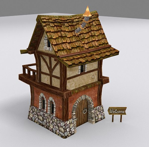 Virtual 3d Home Design Game: Medieval Fantasy Town Tiny 3d Model