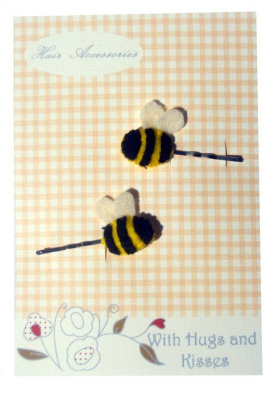 Bee Hair Slides by WithHugsandKisses on Etsy, $3.99