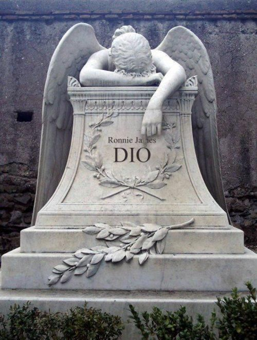 Ronnie James Dio... R.I.P. He will always be protected by his weeping angel...