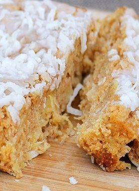 Coconut Breakfast Cake - Whenever we don't know what to make for breakfast, we always end up making this cake. It's like biting into a slice of Hawaii... and so healthy you can have three slices! http://chocolatecoveredkatie.com/2012/04/11/big-fat-coconut-breakfast-cake-2/ @choccoveredkt