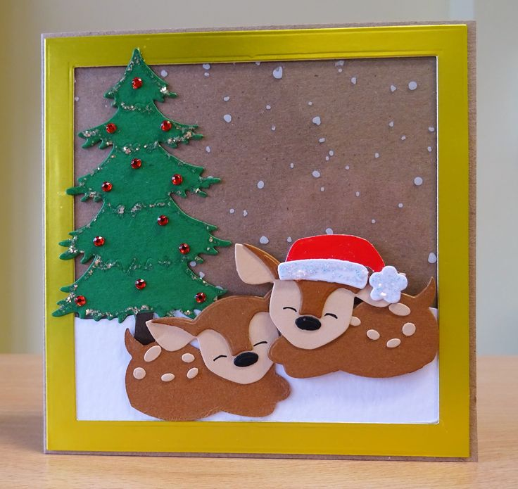 Christmas Card - Marianne Collectables Deer Die. For more of my cards please visit CraftyCardStudio on Etsy.com.