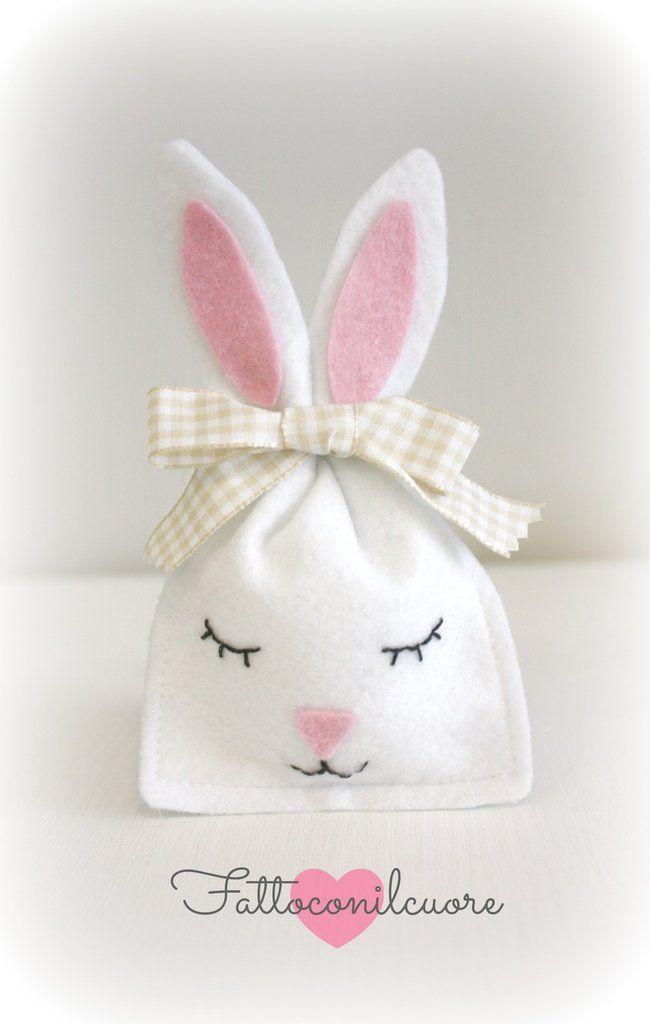 sacchetti coniglietto bianco  per bambini, by fattoconilcuore, 3,90 € su misshobby.com