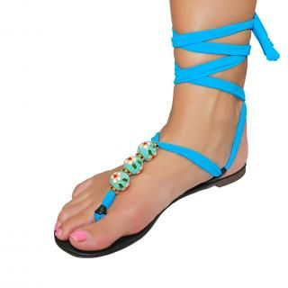 Shutini's Hawaiian Dreaming Sandal Strap features a short strap made from high quality lycra and stunning hand painted beads, styled with gold accessories. On #sale for $9.95. #shoes