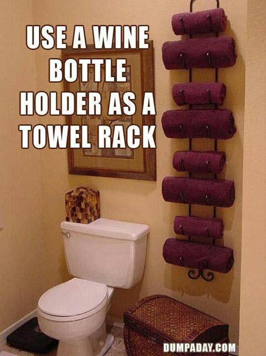 Wine rack in the bathroom