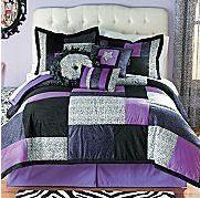 Black and purple zebra print bedroom ideas for a girl bedroom.