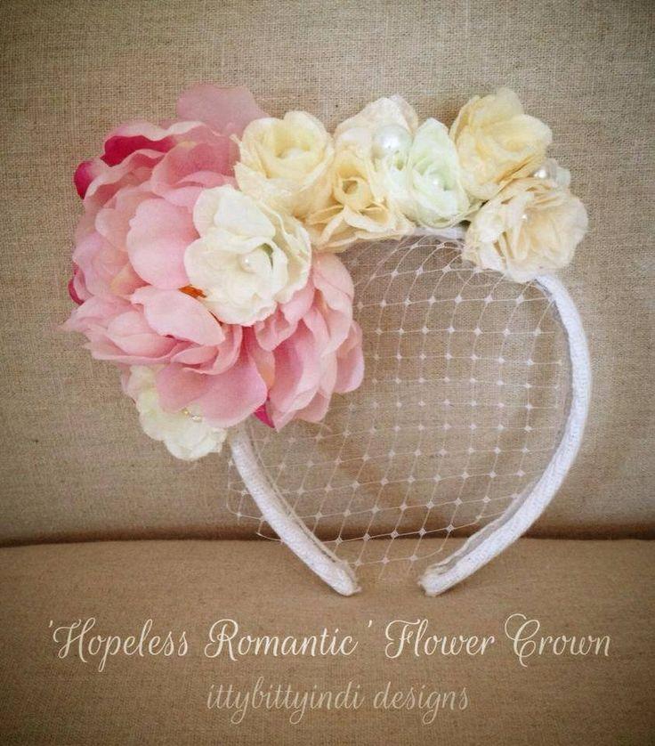Hopeless Romantic flower crown www.facebook.com/ittybittyindidesigns