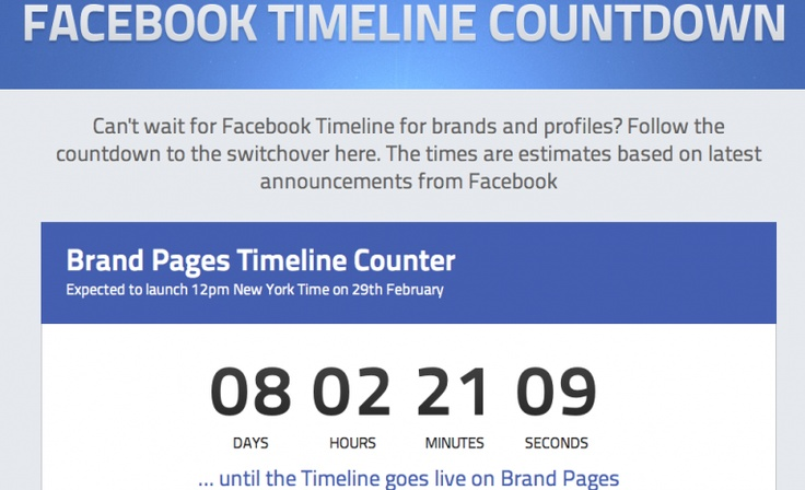 We at Simply Zesty have created a Countdown for Facebook Timeline for Brand Pages for you to follow!