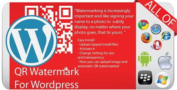 QR Watermark for Wordpress . The essential QR Watermark Plugin for Wordpress Users, Business and Personal