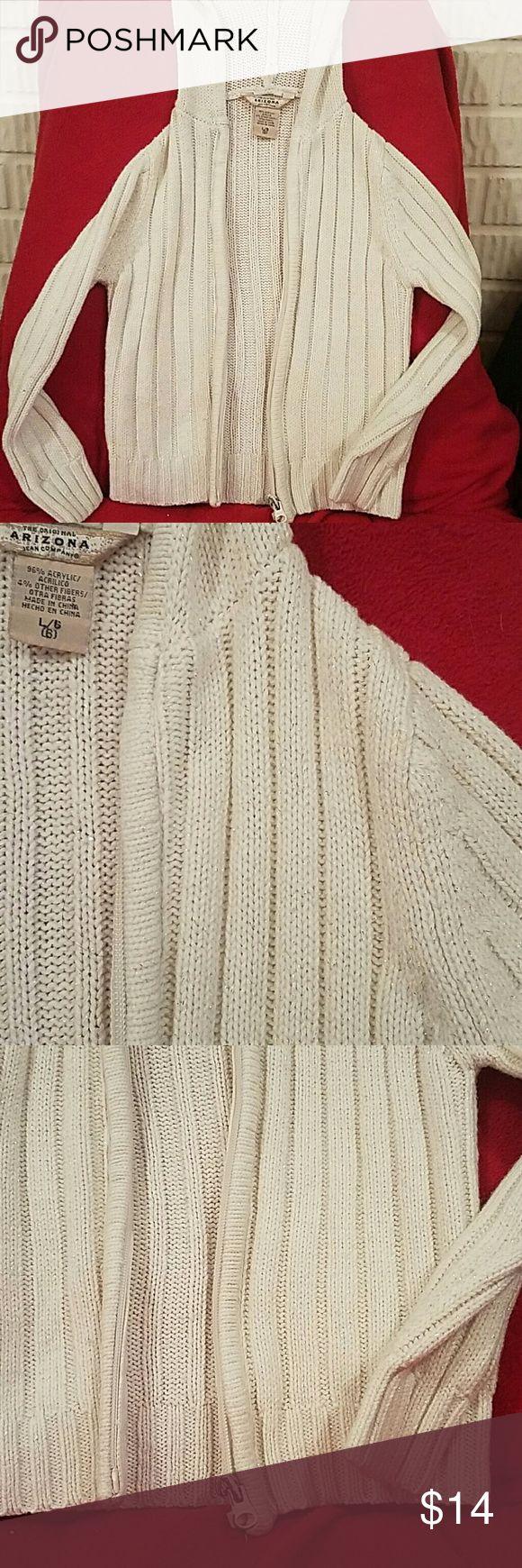 Girls Winter White & Silver zip-up knit sweater Winter White & Silver zip-up knit hooded sweater. Arizona Jean Company Shirts & Tops Sweatshirts & Hoodies
