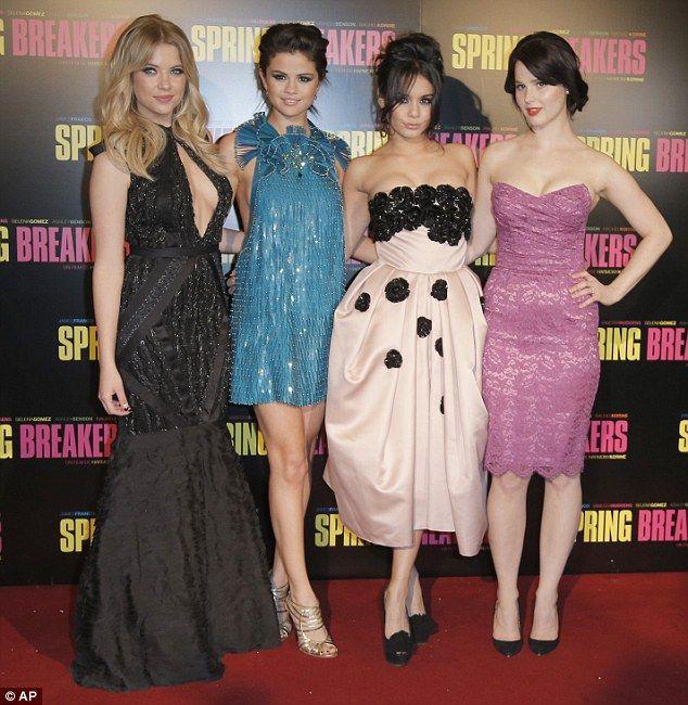 Ashley Benson, Selena Gomez, Vanessa Hudgens, and Rachel Korine at the 'Spring Breakers' Paris Premiere