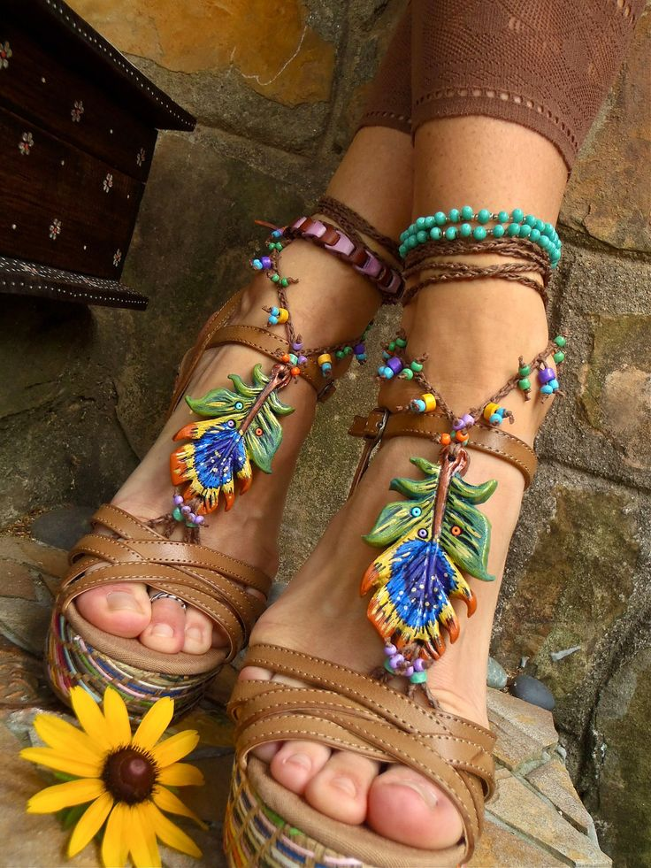 peacock wedges: Peacock Feathers, Summer Fashion, Fashion Shoes, Barefoot Sandals, Hippie, Summer Shoes, Bohemian Style, Beaches Wedding, Peacock Barefoot