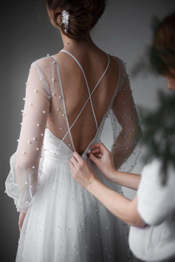 Open back sexy wedding dress, Ivory tulle color wedding dress, Bohemian bridal gown, long sleeve dress ANASTASIA