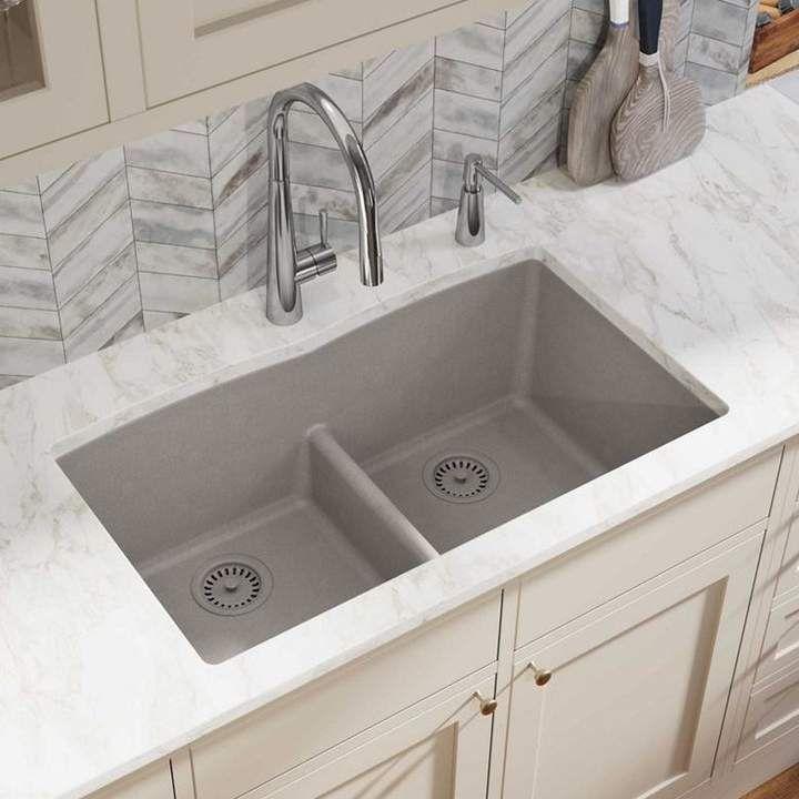 Quartz Classic 33 L X 19 W Double Basin Undermount Kitchen Sink With Aqua Divide Drop In Kitchen Sink Undermount Kitchen Sinks Sink 33x19 drop in kitchen sink