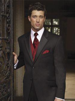 black suit red vest for groomsmen