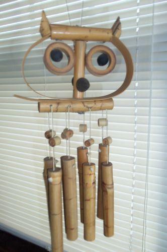 Vintage Windchime Hoot Owl Made of Bamboo Mid Century Retro Home Decor | eBay