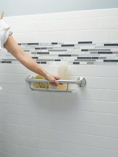 Combination Toilet Paper Holder And Grab Bar For Small Bathroom: Cute... A Bathtub Grab Bar With A Shelf Built In