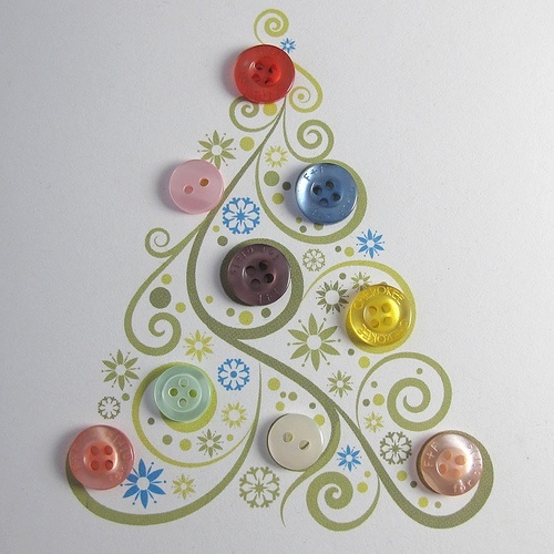 Festive button note cards!  Print out a tree onto card stock.  Glue on buttons.