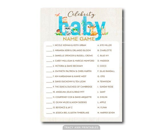 photograph relating to Celebrity Baby Name Game Printable named Superstar Kid Reputation Recreation, Woodland Little one Shower Video game