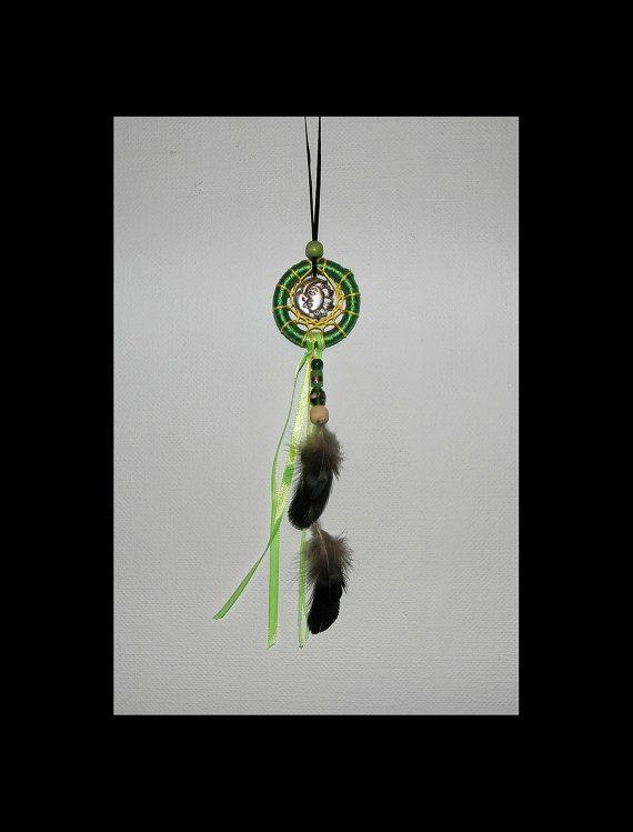 Small Green Dreamcatcher for the rearview mirror door Moonflowertje