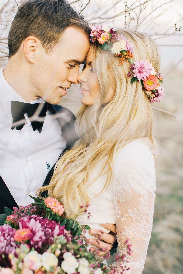 Beautiful wedding hair! Love the flower crown!