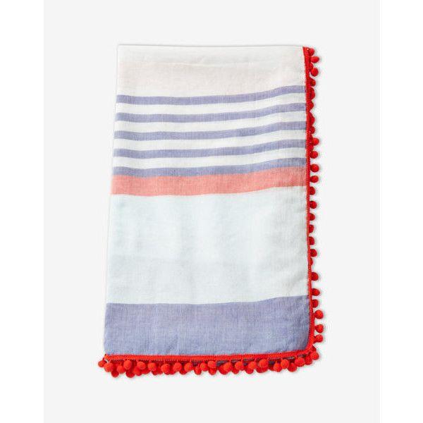 Express Pom Fringe Stripe Scarf ($25) ❤ liked on Polyvore featuring accessories, scarves, orange, orange handkerchief, fringe scarves, orange bandana, cotton scarves and orange scarves