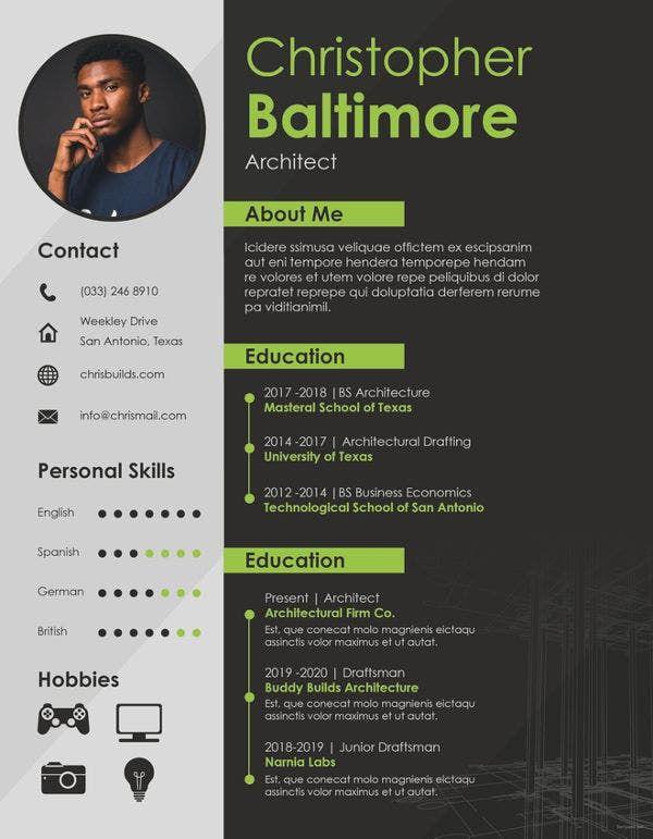 Architect Resume Template 5 Free Word Pdf Documents Architect House Architect Logo Design Famou In 2020 Architecture Resume Architect Resume Portfolio Resume