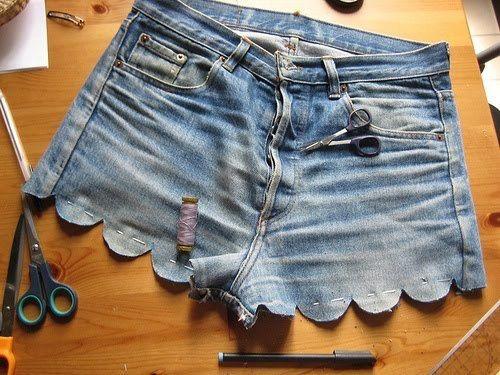 diy scalloped hem cut-off denim shorts