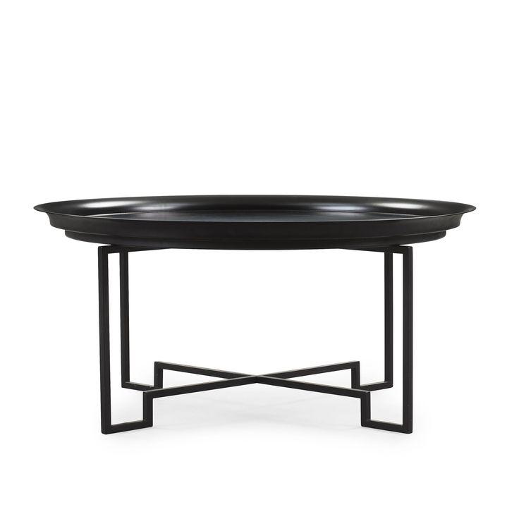 PER ÖBERG BLACK LACQUERED TIN AND IRON SOFA TABLE, SVENSKT TENN, POST 2000.