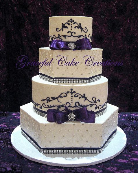 Formal Purple Silver White Ballroom Buttercream Multi-shape Ribbon Wedding Cake Wedding Cakes Photos & Pictures - WeddingWire.com