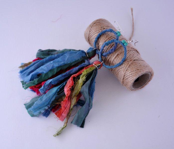 Kolczyki łapacze snów z jedwabiu sari - GithagoArt - Kolczyki długie