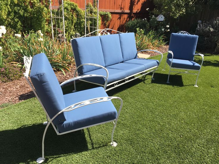 Salterini, Rose Bud pattern, 1940s A 3 piece set of 2 club chairs and a 3 seater sofa, Sunbrella cushions