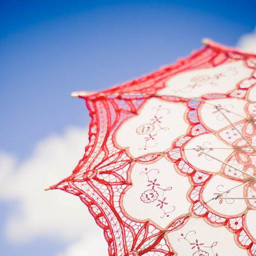 so pretty - red lace parasol