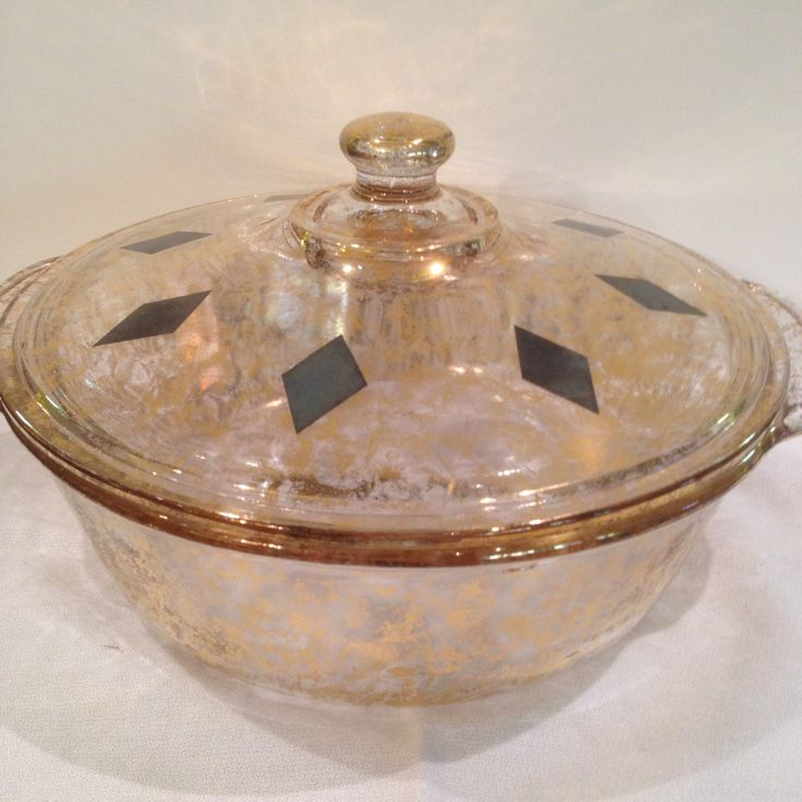 Fire King Covered Casserole Gold Sparkle and Black Diamond, 2 Quart, Bakeware , Made In USA, 1950s, Ovenware, T.M.Reg, Number 11, Stunning by Sunshineoftreasures on Etsy