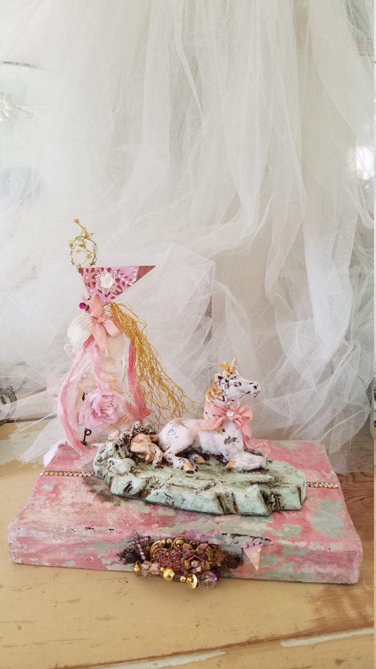 UNICORN ART Pink Unicorn Decor Figurine Nursery Decor Shabby Chic Decor…