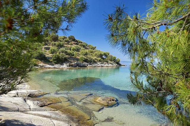 "Halkidiki, Greece | ""Shaped like Poseidon's trident and sticking out into the Aegean Sea, Halkidiki is a treat for visitors. Lush green forests that reach right down to the beach; golden sunlight reflected in the turquoise waters; a traditional style with a rich gastronomic and cultural heritage."" www.visitgreece.gr"