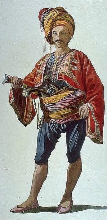 A 'Zeybek' warrior from Smyrna/Izmir. Ottoman era, first half of 19th century. Drawing by Charles Gleyre (1808-1874). Watercolor and pencil on paper, 1834. (Museum of Fine Arts, Boston).